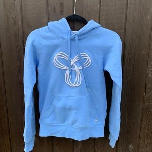 baby blue aritzia hoodie with embroidered logo
